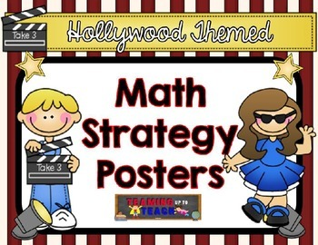 Hollywood Themed Editable Math Strategy Posters