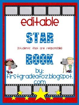 Hollywood Themed Editable Star Book