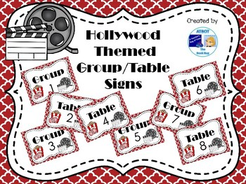Hollywood Themed Group/Table Signs