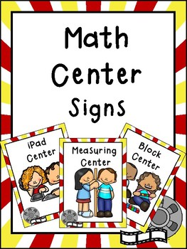 Hollywood Themed Math Center Signs