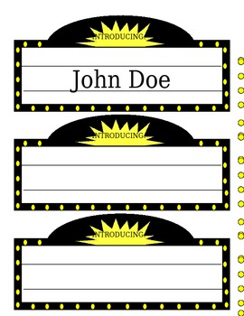 Hollywood Themed Name Tags