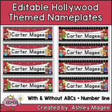 Hollywood Themed Editable Name plates / Desk Plates / Name Tags
