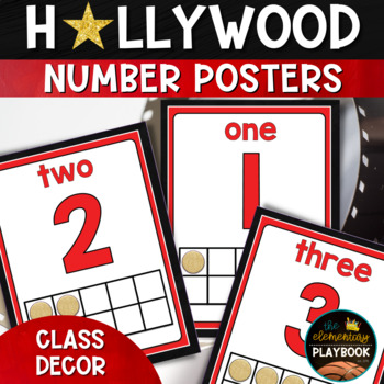 hollywood theme classroom decor number posters by the playbook tpt