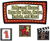 Hollywood Themed Signs for Tables, Crates, Baskets, and More!