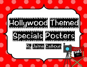 Hollywood Themed Specials Posters with Polka Dot Backgrounds