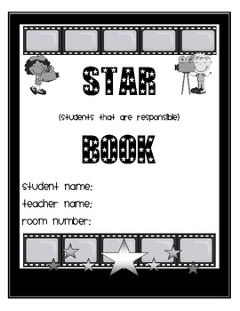 Hollywood Themed Star Book black/white