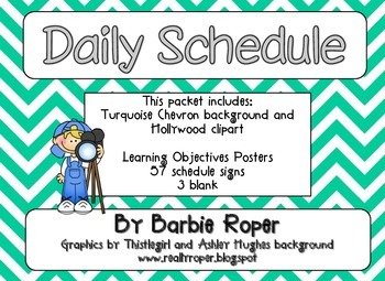 Hollywood {Turquoise Chevron} Daily Schedule