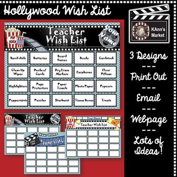 Hollywood Wish List for Teachers!  Editable Template with Lots of Ideas