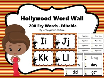 Hollywood Word Wall With 200 Fry Words #2 -Editable
