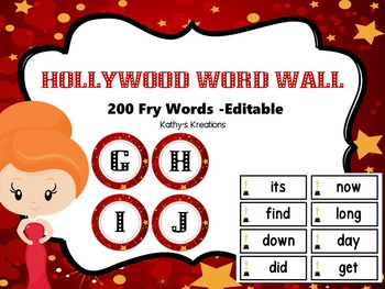 Hollywood Word Wall -Marquee Lights  With 200 Fry Words- Editable Page Included