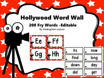 Hollywood Word Wall and 200 Fry Words -Editable (Star Background)