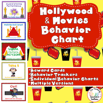 Hollywood and Movie Behavior Chart - 5 Step Chart with Awa