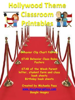 Hollywood theme Classroom Printables