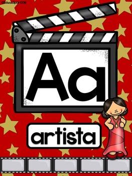 Hollywood theme Spanish ABC - Abecedario Hollywood