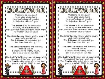 Hollywood theme Welcome Bag Poem FREEBIE