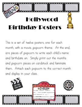 Hollywood Themed Birthday Signs