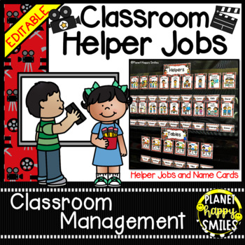 Classroom Helper Jobs (EDITABLE) ~ Hollywood/Movie Theme