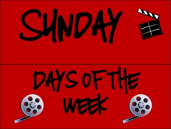 Hollywood/Movie Themed Days of the Week Cards