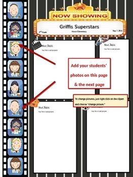 HOllywood/Movie Theme: Students Photos inside Movie Filmstrip!  Cute & Editable