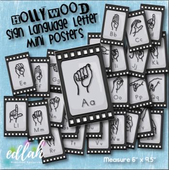 Hollywood/Movie Themed Sign Language Letter Mini Posters (ASL)