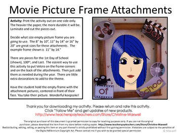 Hollywood Picture Frame Attachments First Day, 100th Day, & Last Day Of School