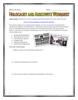 Holocaust & Auschwitz - Webquest with Key (Inside the Nazi ...