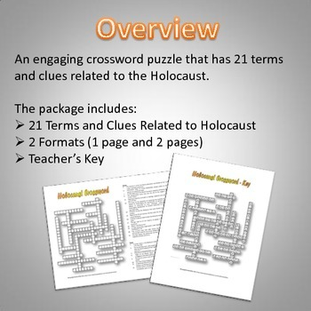 Holocaust - Crossword Puzzle (21 Terms and Clues with Key)