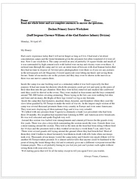 Holocaust: Dachau Primary Source Worksheet by History Wizard | TpT