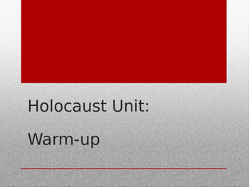 Holocaust Daily Poetry Assignment