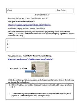 Holocaust Experience/Anne Frank Introduction Webquest