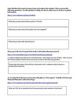 Holocaust Experience/Anne Frank Introduction Webquest
