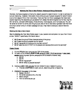 Holocaust Group Genocide - AVID Strategy Marking the Text