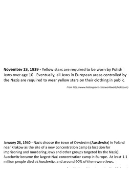 Holocaust History Timeline for Maus