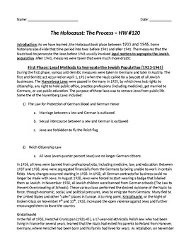 Holocaust Introduction: The Process of the Holocaust