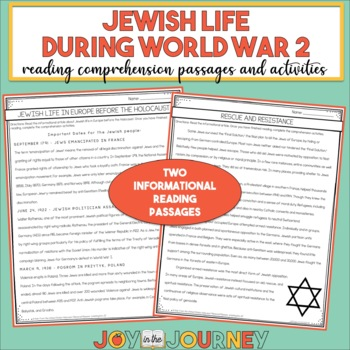 Holocaust World War 2 Non-fiction Reading Comprehension