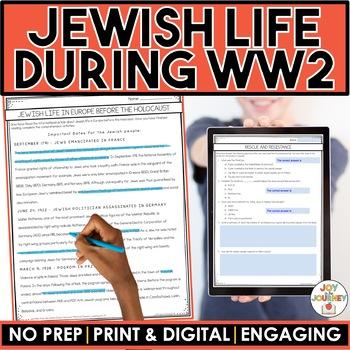 Holocaust World War 2 Non-fiction Reading Comprehension