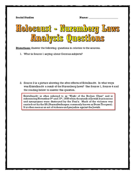 Holocaust - Nuremberg Laws Source Analysis (Sources and Questions with Key)