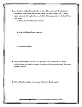 Holocaust - Nuremberg Trials - Webquest with Key (World War II)