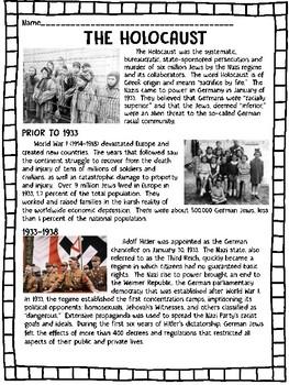 holocaust overview reading comprehension worksheet world war ii hitler jews. Black Bedroom Furniture Sets. Home Design Ideas