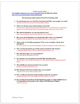 Holocaust Primary Source Worksheet: Nuremberg War Trials ...