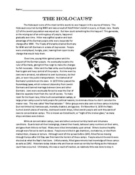 Holocaust Reading Comprehension