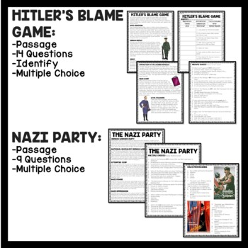 Holocaust Reading Comprehension Worksheets- 8 articles with questions, Hitler