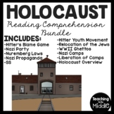Holocaust Reading Comprehension Bundle- 10 articles with questions, Hitler