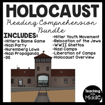 Holocaust Reading Comprehension Worksheets- 8 articles wit