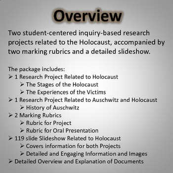 Holocaust - Research Projects (2 Projects, Slideshow, Rubrics, Web Links, Plan)