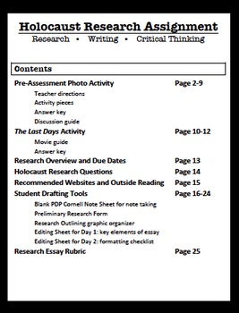 Holocaust Research Unit and Essay (Common Core)