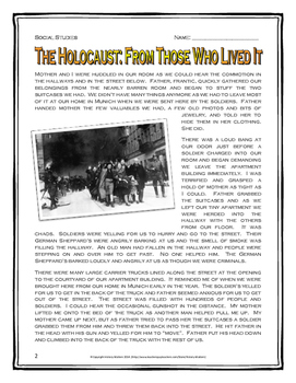 Holocaust - Story with Comprehension and Analysis Questions, Assignments, Key