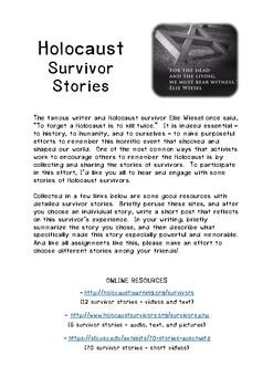 Holocaust Survivor Stories Assignment/Handout
