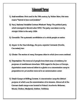 Holocaust Terms Handout, Review Activity, and Term Quiz