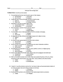 Holocaust Terminology Exam